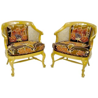 Pair of 1940s Cane-Back Regency Style Bergeres For Sale