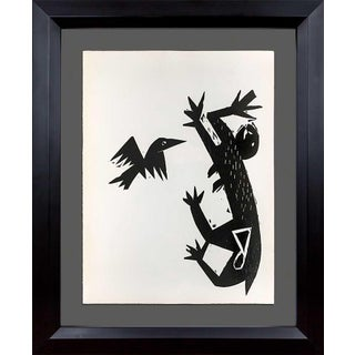 Hap Grieshaber Original Woodcut, (Cat and Bird) 1964 W/Archival Frame For Sale