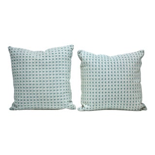 Brunschwig & Fils Fabric Turquoise Blue Cane Style Fabric Pillows - a Pair For Sale