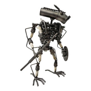 Heavy Gauge Scrap Metal Kinetic Robot Sculpture For Sale