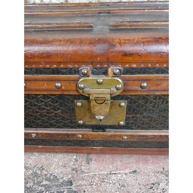 Animal Skin Goyard 1920s Beautiful French Vintage Leather Steamer Trunk For Sale - Image 7 of 9