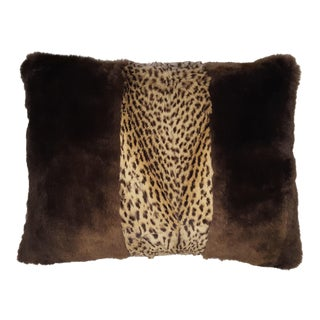 Sheared Beaver With Geoffrey Cat Center Panel Pillow