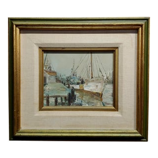 Boccari - Fishing Boat on Port - Oil Painting For Sale