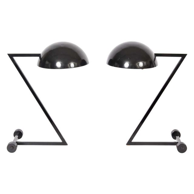 """1980s George Kovacs Style Black """"Z"""" Desk Lamps - a Pair For Sale - Image 9 of 9"""