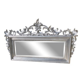 Vintage French Louis XV Rococo Style Silver Vertical Giltwood Wall Beveled Mirror For Sale