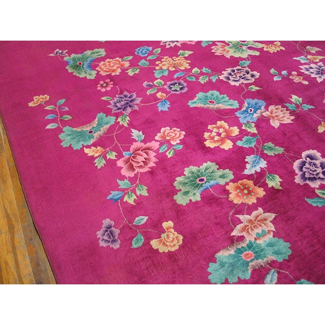 1930s 1930s Antique Chinese Art Deco Rug-9′ × 11′3″ For Sale - Image 5 of 6