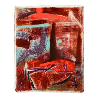 Red Modernist Abstract Stone Lithograph For Sale