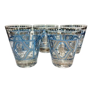 1960's Culver Bohemian Aztec Silver & Blue Double Rocks Glasses - Set of 5 For Sale