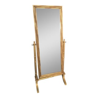 Full Length Gilded Frame Bamboo Mirror For Sale