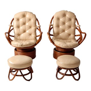 Mid-Century Rattan Swivel Chairs With Ottomans - Set of 4 For Sale