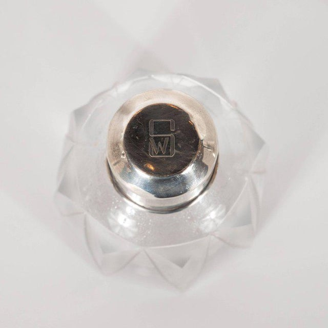 Art Deco Skyscraper Style Sterling Silver & Geometric Beveled Glass Perfume Set For Sale - Image 4 of 9