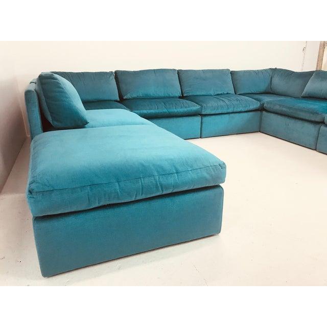 Blue Milo Baughman Modular Sofa For Sale - Image 8 of 12