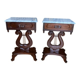 Chippendale Lyre Marble Top Hand Carved Side Tables - a Pair For Sale