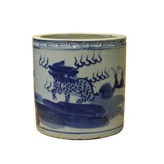 Chinese Blue & White Porcelain Kirin Scenery Brush Holder Pot For Sale