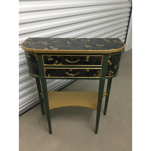Charming Hekman Sidetable Refinished With Handmade Paper For Sale - Image 9 of 9