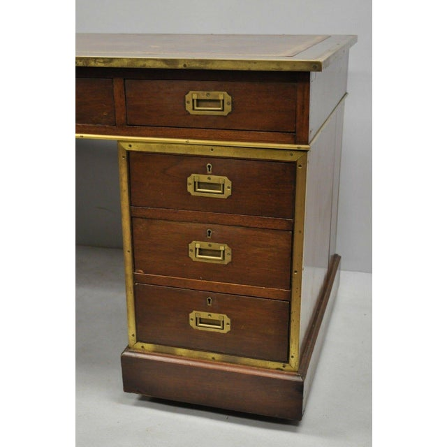19th Century Campaign Mahogany Partner Desk For Sale - Image 12 of 13