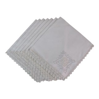 White on White Embroidered Linen Napkins - Set of 11 For Sale