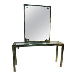 Stunning Solid Brass Italian Mirror and Console Table With Greek Key Design For Sale