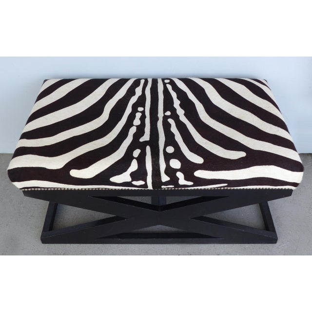 """2010s Barclay Butera Home """"Bel Air"""" Ottoman With Zebra Print Upholstery For Sale - Image 5 of 9"""
