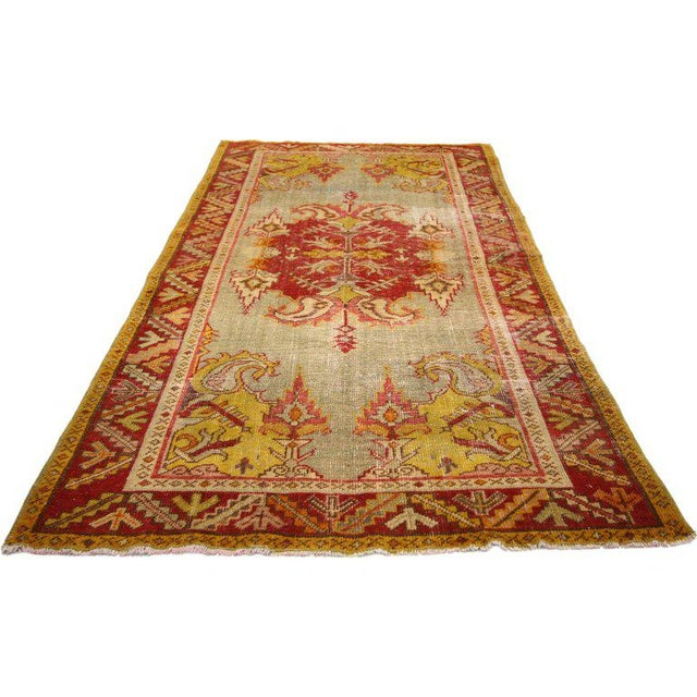 Mid 20th Century 20th Century Turkish Style Distressed Oushak Rug For Sale - Image 5 of 6
