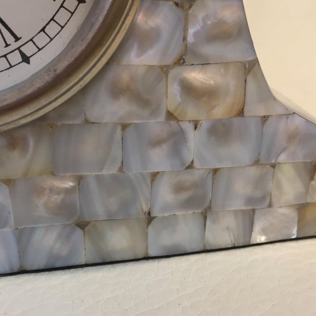 Art Deco Mother of Pearl Mantle Clock For Sale - Image 3 of 10