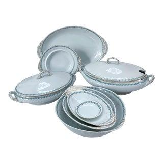 Antique Lewis Straus & Sons Blue & Green Porcelain Serving Set- 8 Pieces For Sale