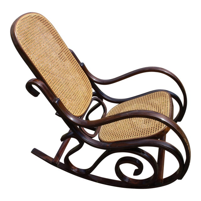 Vintage Rattan Rocking Chair For Sale