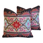 """Pierre Frey French Embroidered Feather/down Pillows 18"""" Square - Pair"""