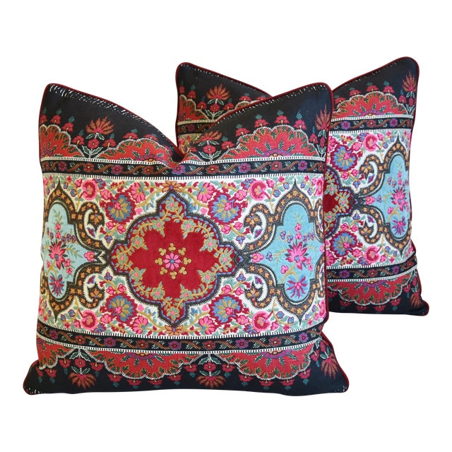 """Pierre Frey French Embroidered Feather/Down Pillows 18"""" Square - Pair For Sale"""