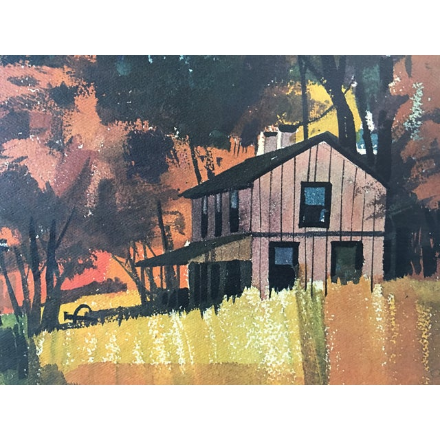 Mid-Century Modern Mid-Century Watercolor Landscape Painting For Sale - Image 3 of 5