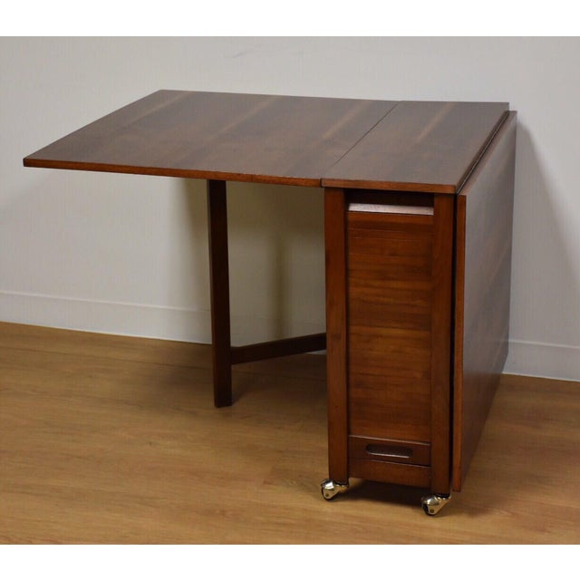 Walnut Dining Table and Self Storing Chairs - Set of 5 For Sale - Image 5 of 11