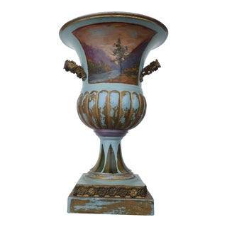 Hand-Painted Miniature Decorative Urn For Sale