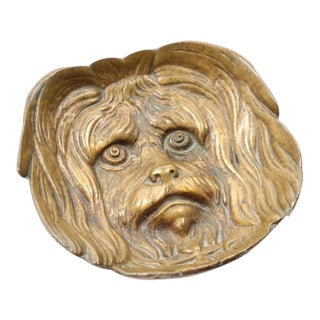 Early 20th Century Antique Bronze Figural Dog Pin Tray For Sale