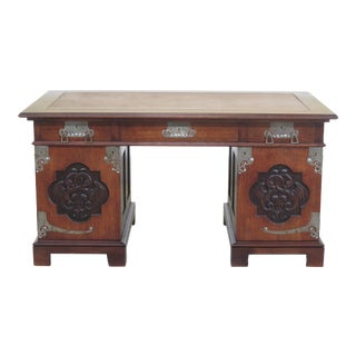 Mission Style Arts & Crafts Leather Top Desk For Sale