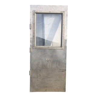 Vintage Industrial Stainless Steel Commerical Door For Sale