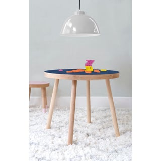 "Poco Large Round 30"" Kids Table in Maple With Deep Blue Finish Accent Preview"