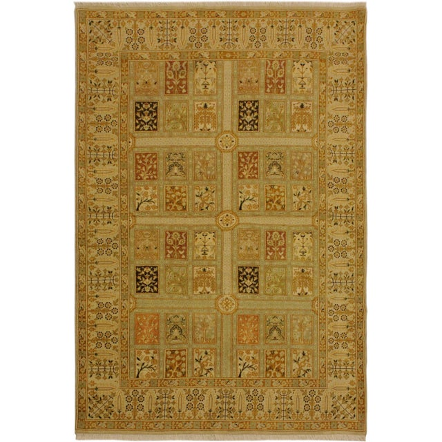 Green Istanbul Jerri Tan/Gold Turkish Hand-Knotted Rug -4'1 X 6'0 For Sale - Image 8 of 8