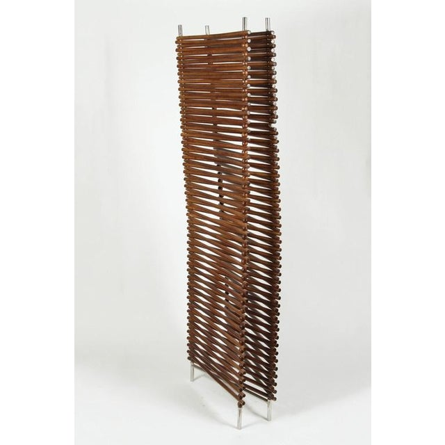 Mid Century Wood Stick & Ball Screen - Image 6 of 7