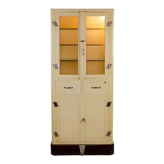 Art Deco Metal Dental Glass Front Storage Cabinet For Sale