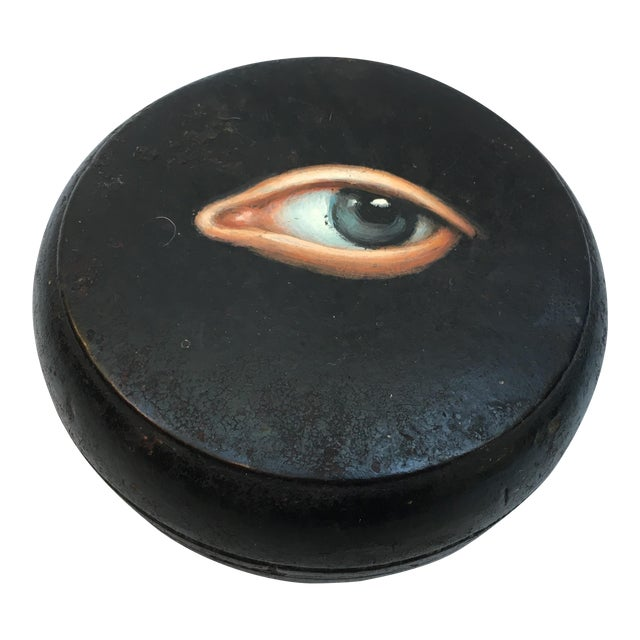 Geisha Face Powder Box with Painted Eye - Image 1 of 7