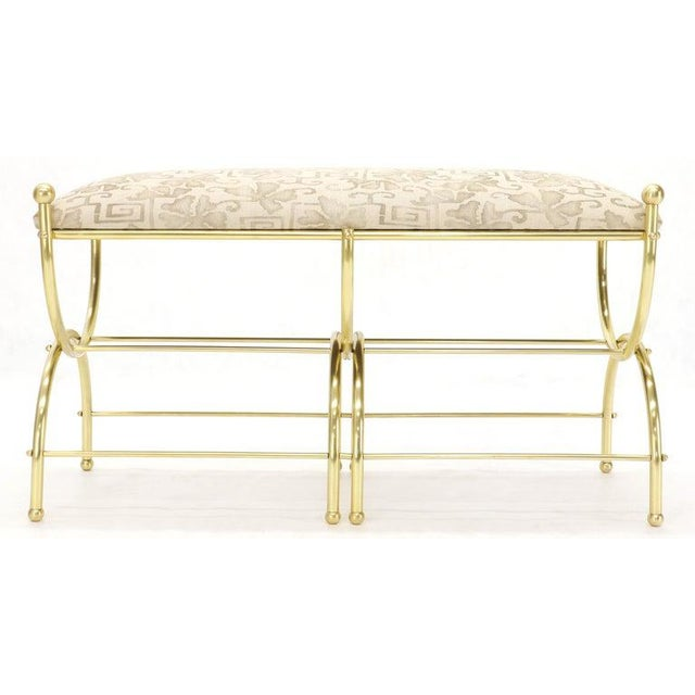 Solid Brass Frame Midcentury Window Bench New Upholstery For Sale - Image 6 of 13