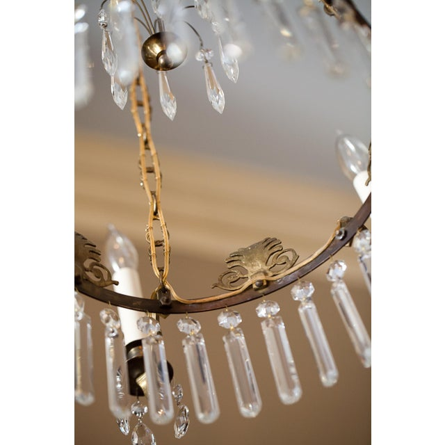 Late 19th Century Neoclassical Style 6-Light Brass and Crystal Chandelier, Sweden, Circa 1890 For Sale - Image 5 of 10