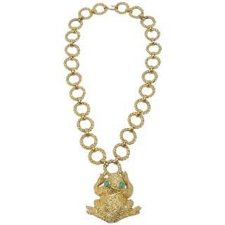 1971 Mimi DI N Gold Tone Frog Statement Necklace For Sale