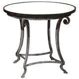 Image of Black Granite and Iron Round Table For Sale