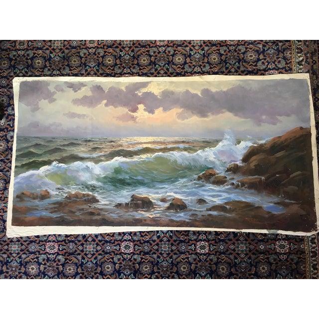 Vintage Large Signed Seascape - Image 2 of 11