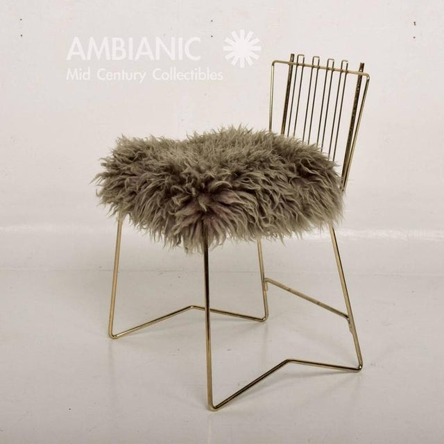 Pr03 Folding Brass & Lambskin Chair For Sale - Image 4 of 9