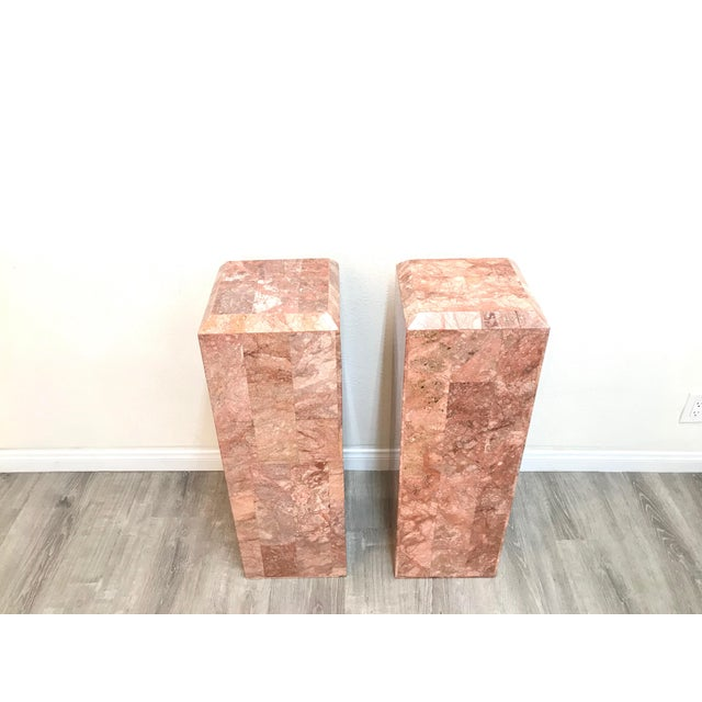 Vintage Tessellated Regency Marble Pedestals - a Pair For Sale - Image 4 of 11