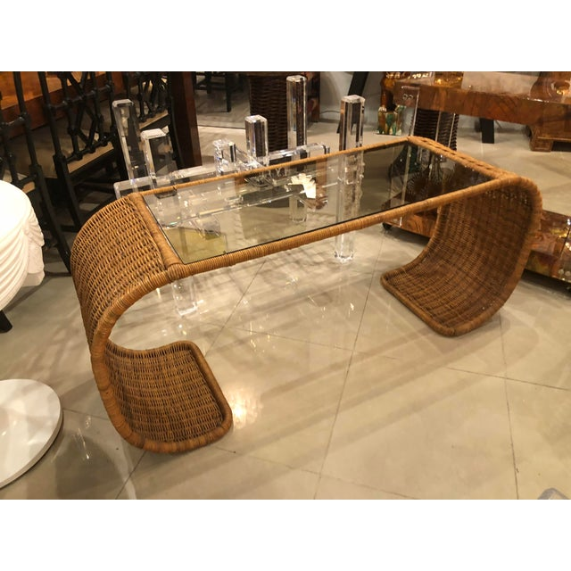 Vintage wicker console, sofa table with glass top. Ming, scroll style sides.
