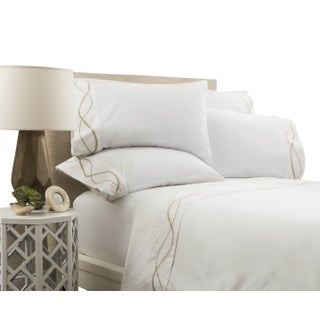 Capri Embroidered Flat Sheet King - Pumice Preview