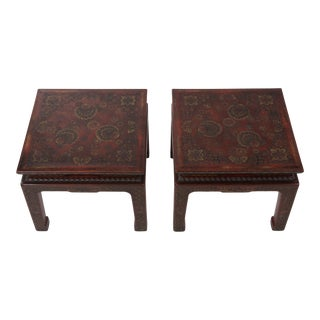 Superbly Rich Pair of Square Asian Style John Widdicomb End Side Tables For Sale